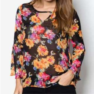 ZALORA Floral Bell Sleeves Top #JulyPayDay