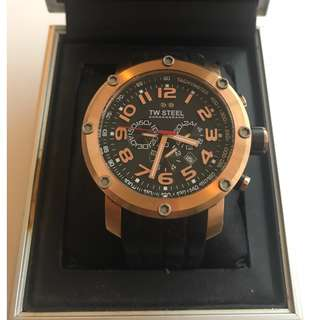 Genuine TW Steel Black Grandeur Tech Rose-gold Plated Stainless Steel Chronograph Watch