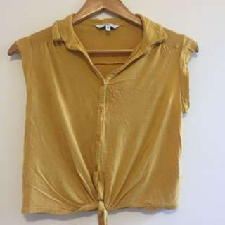 New Look Mustard Cropped Top With Tie Size 8