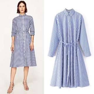 💃🏼(S~L) Inspired Zara Loose Midi Shirt Dress Striped Dress With Long Sleeves💃🏼