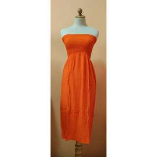 Orange Beach Off-shouldered Dress