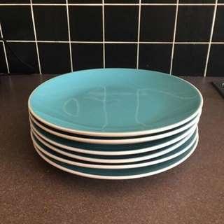 Set Of 6 Blue Plates