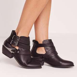 Western Buckle Ankle Boots Missguided