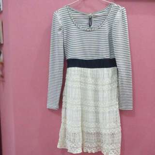stripe dress with lace