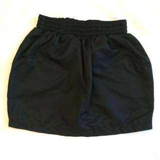 Black Satin-finish American Apparel Mini Skirt