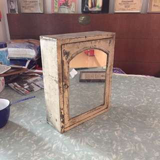 Village Metal Mirror Cabinet. Shabby Chic, Rustic Look. 80 Yrs.