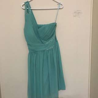 One Shoulder Tiffany Blue Dress