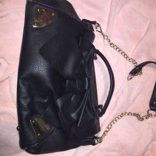 Large Black Tote Bag With Bow Embellishment