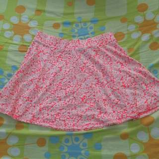 H&M Neon Pink Floral Skater Skirt