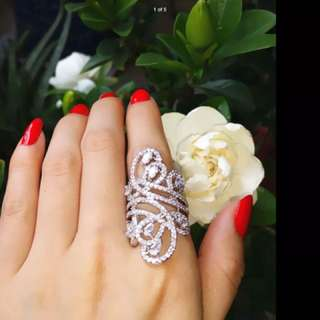 Handmade Sterling Silver Simulated Diamond Fashion Pave Ring R$244 Jewellery