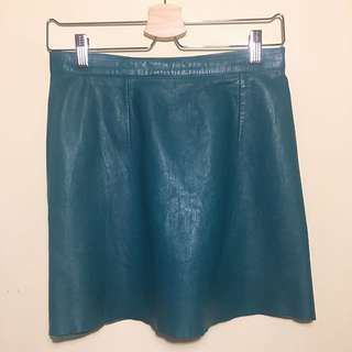 American Apparel Leather Mini Skirt Teal M