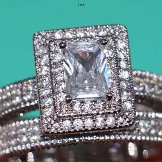 Handmade Wedding Set Rings 4ct Princess Cut 14ct White Gold Filled Pave R$218 Jewellery