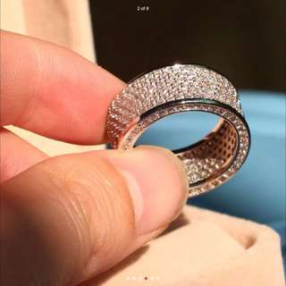 10ct White Gold Filled 320pcs Wide Pave White Topaz R$320 Jewellery