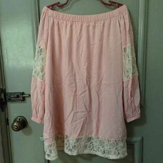 Blush Pink Off Shoulder Long Top With Lace Detail