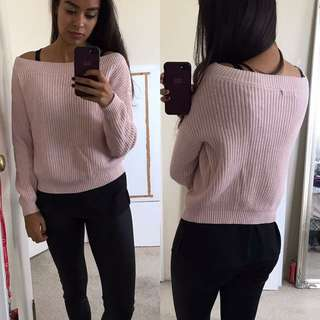 Size 6 Off The Shoulder Pink Jumper
