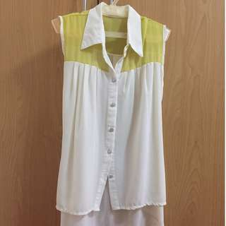 White Sleeveless Button-up Top