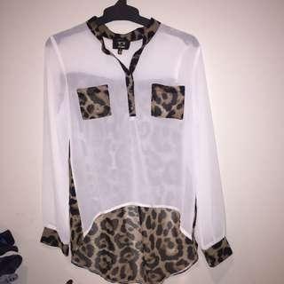 Shear Leopard Print Blouse