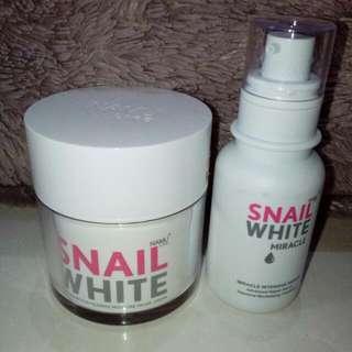 Preloved Original Snail White Cream + Snail White Serum Miracle Intensive Repair By Namu