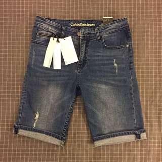 正品 CK Calvin Klein Jans 牛仔系列 破壞 厚磅數 低調刷色 透氣 精品 短褲 ( 近全新 吊牌保留 )