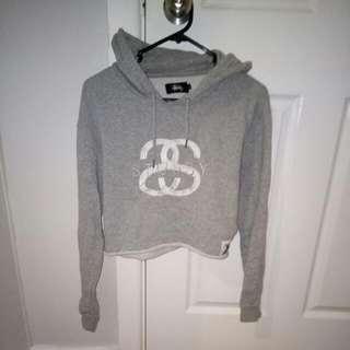Grey Stussy Crop Sweatshirt Jumper Size 8
