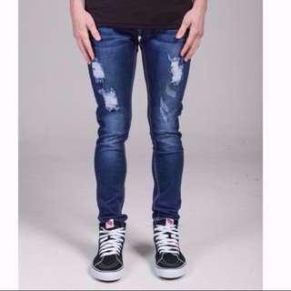 BN Summit Clothing Destroyed Mid Wash Denim Jeans