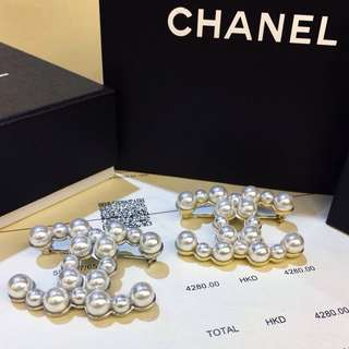 Chanel Pearl Studded Brooch (Gold or Silver)