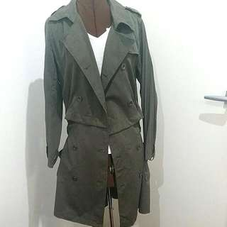Green Army Trench Coat Convertible  Cropped Short Or Long