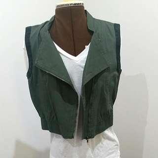 Green Leather Detail Vest