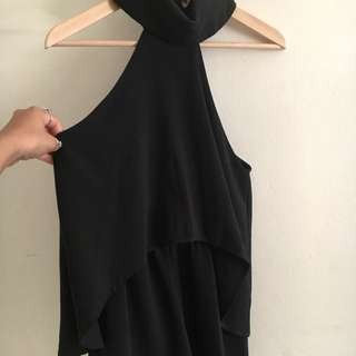 Black Layered Play suit With Neck Piece