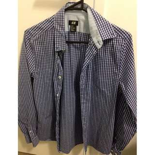 H&M Check Shirt Size Small Slit Fit