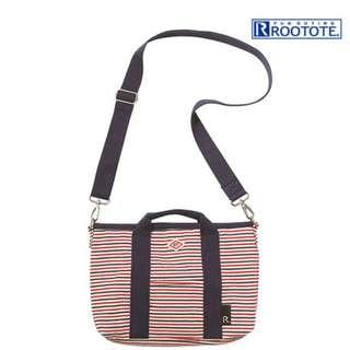 日本品牌ROOTOTE 條紋綿質 兩用斜背包中包-紅藍條紋 原價1750 賣900