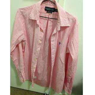 Ralph Lauren White & Pink Stripe Shirt Custom Fit Size Small
