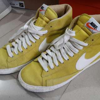 Nike Yellow Leather Blazer High Sneakers Shoes us8.5 芥末黃色 京皮 高筒 波鞋