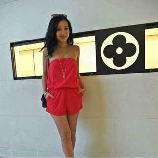 紅色平口連身褲 S 60公斤內都可穿 超彈