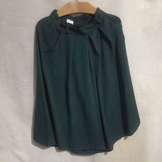 正韓深綠色絲質寬褲