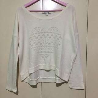 Forever 21 White Heart Sweater
