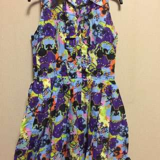 dress abstrak ungu