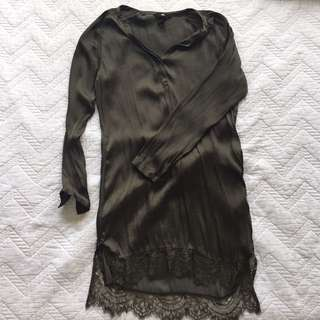 H&M OLIVE SILKY DRESS