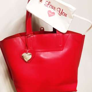 TOSCA BLU RED LEATHER TOTE AUTHENTIC MADE IN ITALY