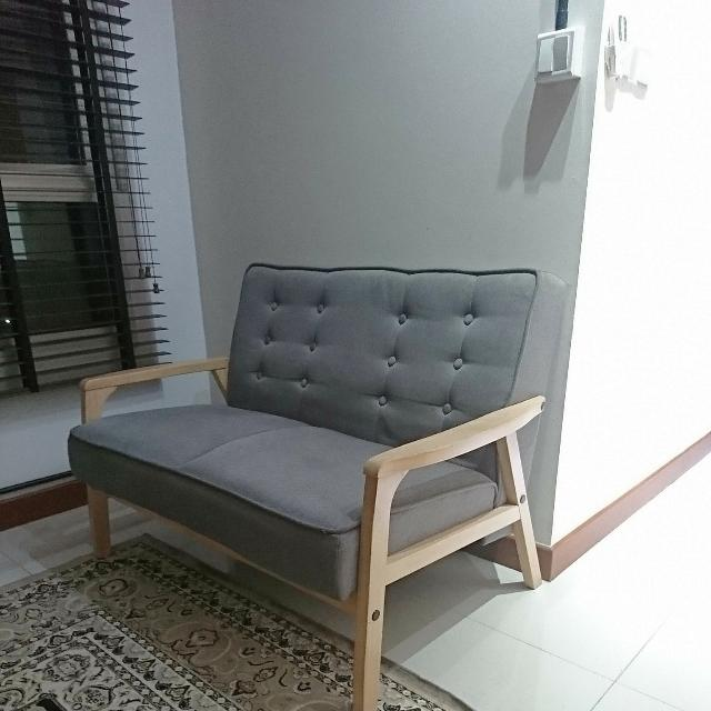2 Seater Cushion Sofa With Wooden Arm Rest Furniture Sofas On Carou