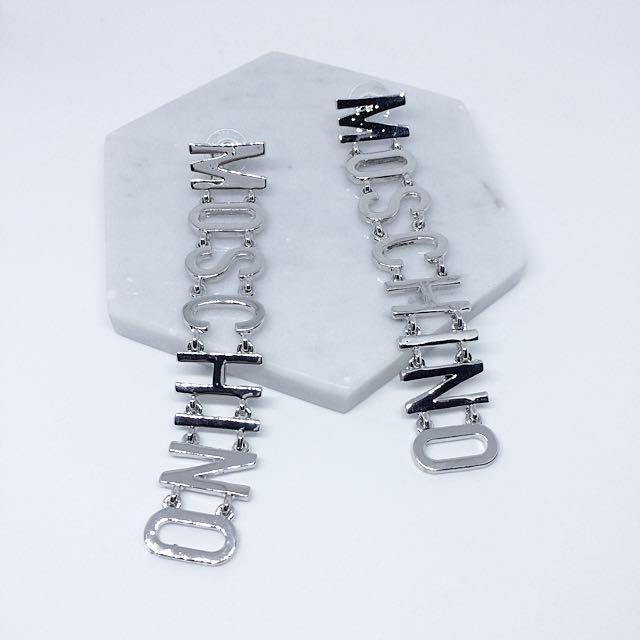 誇張字母鎖鏈耳環-銀