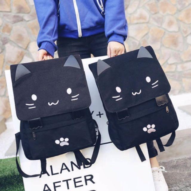 貓咪刺繡頭樣後雙肩背包  書包 旅行包