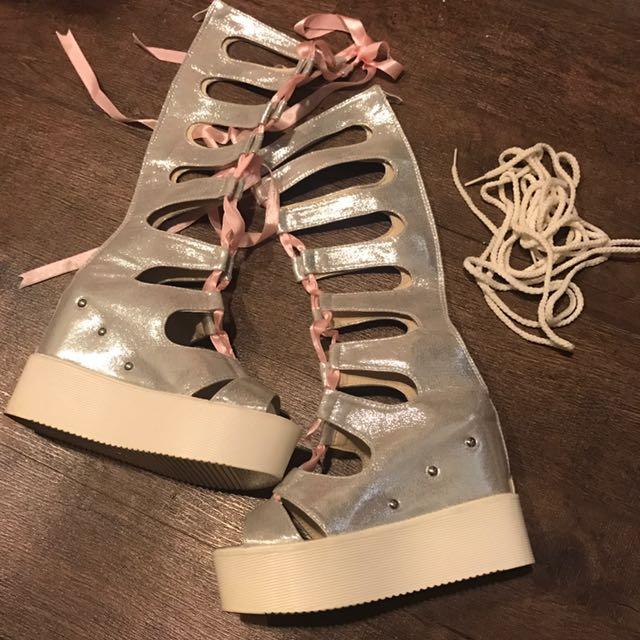 銀色羅馬內增高涼鞋