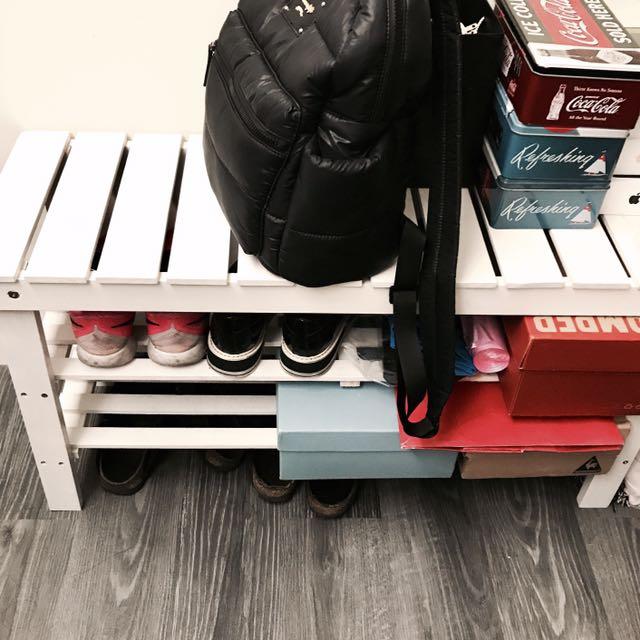 ::搬家出清:: 北歐 鞋櫃 鞋架 實木休閒穿鞋椅 白色二手自取