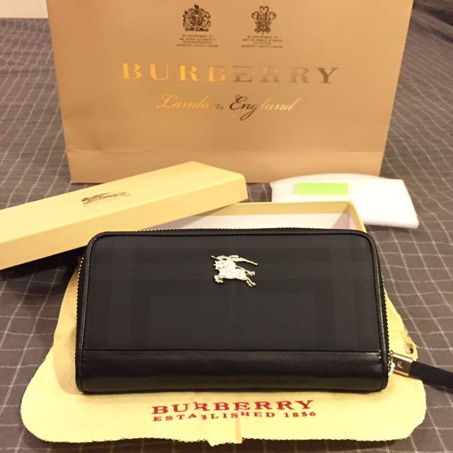 正品 Burberry 戰馬 中性 真皮 壓標 鍍銀 標 拉鍊 精品 質感 長夾 4夾 8卡位 ( 近全新 配件完整 )