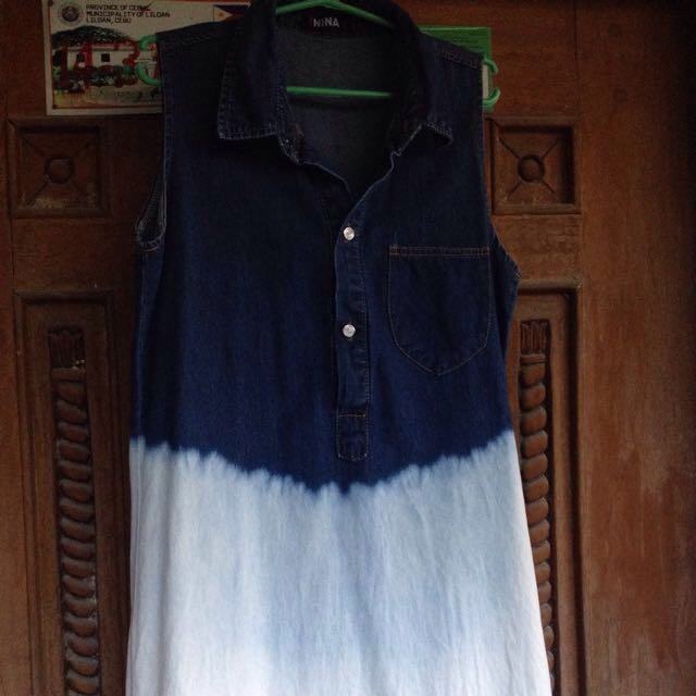 Acid washed denim dress