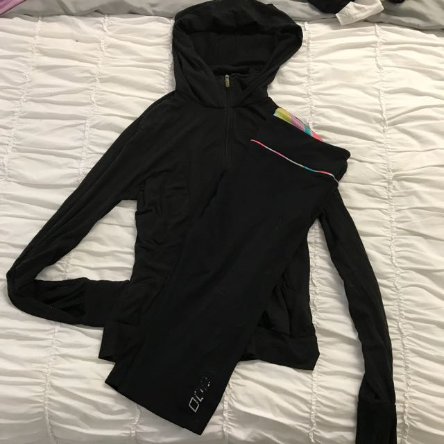 Active Wear - Lorna Jane 3/4 Running Tights & Puma Hoodie Long Sleeve Zip Top - Both Size M 10/12