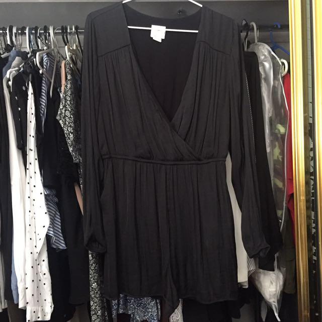 Alice & OU Black Silk Playsuit - Large