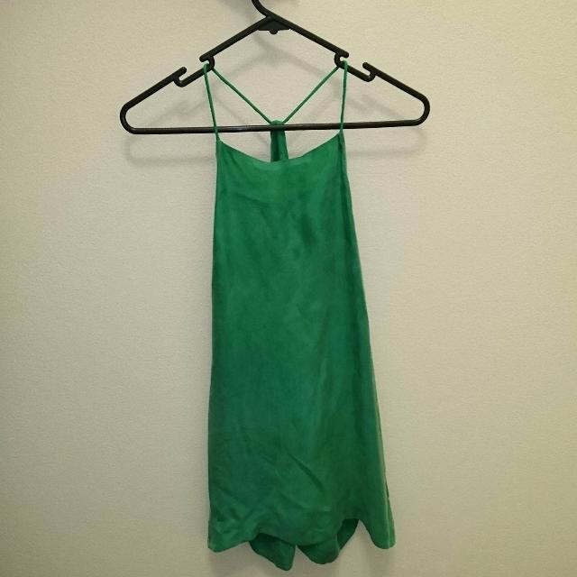 ALPHA60 100% Cupro Green Tunic Or Mini Dress