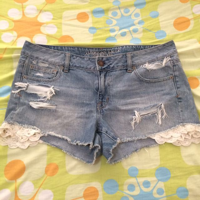 American Eagle Ripped Shorts With Lace Detail